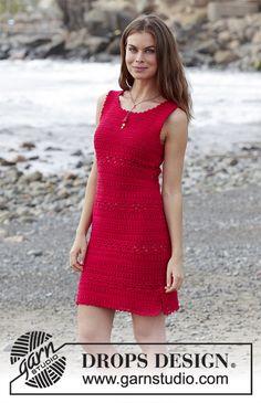 Belladonna / DROPS 187-5 - Virkad klänning med strukturmönster. Storlek S - XXXL. Arbetet är virkat i DROPS Muskat
