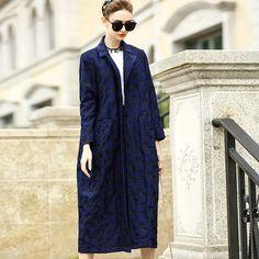 2017 autumn new high-end boutique women's big jacquard lapel women's windbreaker long cotton plus wool blue coat female 2XL