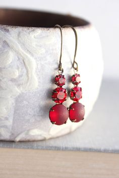 Red Glass Drop Earrings Unique Small Jewel Earrings