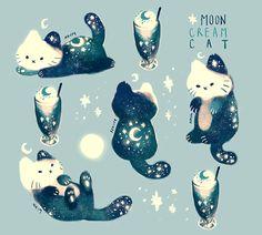 Moon Cream Cat by nk-illustrates Arte Do Kawaii, Kawaii Cat, Anime Kawaii, Cute Animal Drawings, Kawaii Drawings, Funny Drawings, Cute Animal Illustration, Cute Cat Drawing, Gato Doodle