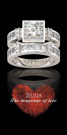 Jeulia Halo Round Cut Created White Sapphire Wedding Set #Jeulia