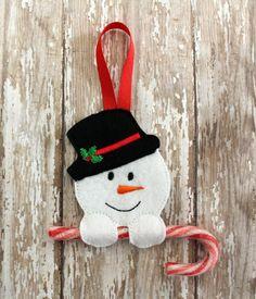 Embroider Snowman Candy Cane Felt Ornament