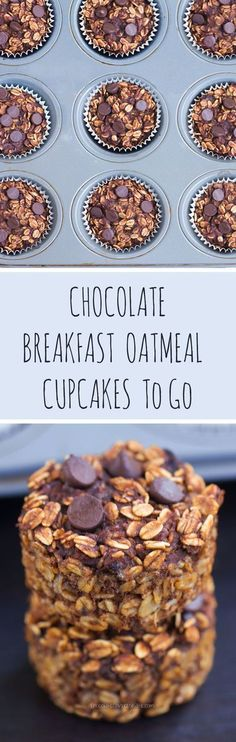 Chocolate Breakfast Oatmeal Cupcakes - To Go! - You cook just ONCE and get a delicious breakfast for the entire month – Easy & nutritious recipe loved by kids and adults: chocolatecoveredk… Chocolate Covered Katie Breakfast And Brunch, Breakfast Cupcakes, Breakfast Recipes, Breakfast Muffins, Breakfast Ideas, Breakfast Healthy, Breakfast Dessert, Breakfast Casserole, Breakfast Quesadilla