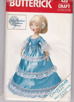 Vtg Butterick 420 22 Inch Doll and Cloths Sewing Pattern Uncut Factory Folded #Butterick