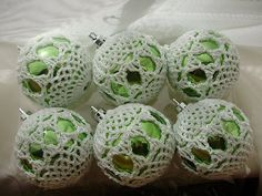 Green and White Crochet Covered Ornament