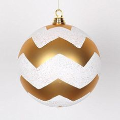 Felices Pascuas Collection Gold Matte with White Glitter Chevron Commercial Size Christmas Ball Ornament 8 inch (200mm)
