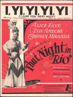 carmen miranda movie titles   That Night In Rio Movie Poster - vintage original film poster, lobby ...