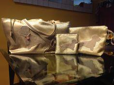 borsa set di stoffa con applicazione in pelle