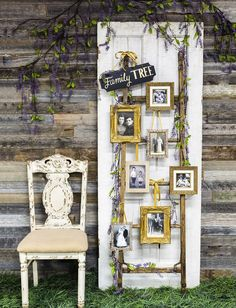 Rustic Wedding Photo Display Ideas with Old Door