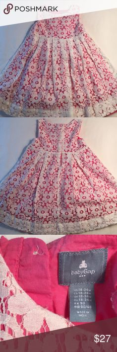 GAP baby girls white lace w/pink dress, EUC, 18-24 One of my favorite pics of my niece is in this dress! So cute & girly! Excellent condition, no stains, holes or tears! gap baby Dresses