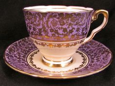 Royal stafford purple gold gilt rose chintz tea cup and saucer