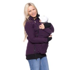 Viva la Mama | The 3in1 plum-coloured long-sleeved nursing & baby carrier hoodie FERIS Active is your perfect companion for maternity, pregnancy, baby wearing and everyday use. The kangaroo mom and baby hoodie keeps your baby warm, close and save :)