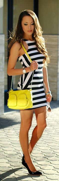 Little Stripes Dress with Pop Bright and Black Chic Outfits | Summer Styles