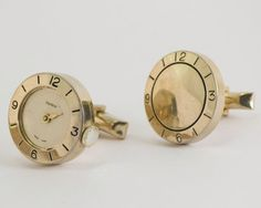 Vintage Cufflinks Clock Cuff Links Gold Toned by CuffsandClips, $21.40