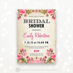 "Printable Bridal Shower Invitation Shabby Chic Invite by AmeliyCom, $15.00 Printable Bridal Shower Honoring Invitation, Bridal Shower Invite Editable DIY INSTANT DOWNLOAD Bridal Shower Party Flyer 5x7 - Just print cut and ready to go!   Editable Bridal Shower Invitation #10 Shabby Chic Vintage Pink Rose You can change the title to ""Bridal TEA PARTY"", ""Bridal BRUNCH"" and etc.  ・・・・・ Editable PDF ・・・・・"