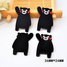 50pcs 36*26MM Janpanese Cartoon Kumamon Resin Flatback Kawaii Bear Planar Resin DIY Craft For Home Decoration Accessories DL-717