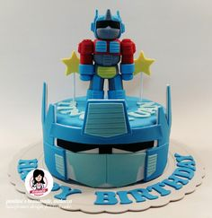 Transformers Prime, Optimus Prime, Transformer Birthday, Transformer Cake, Hello Kitty Birthday Cake, Cake Birthday, 5th Birthday, Fondant Cupcakes, Cupcake Cakes