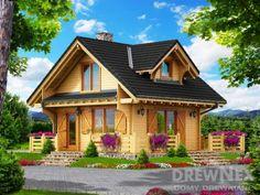 Jaskółka II - Domy drewniane letniskowe - DREWNEX Cabin Homes, Cottage Homes, Log Homes, Modern Log Cabins, Wooden Cabins, House In The Woods, My House, Wooden House Design, Modern Bungalow House