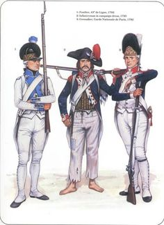 French; Infantry- 1.Fusilier, 43e de Ligne 1792 2.Infantryman in campaign dress 1795 3.Grenadier, Garde Nationale de Paris 1792