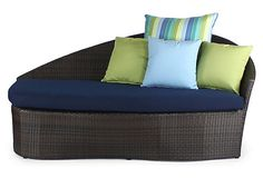 One Kings Lane - Resort at Home - Sail Outdoor Right Daybed, Navy