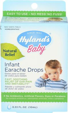 Hyland's Baby Natural Relief Infant Earache Ear Drops 0.33 fl oz Fast soothing relief of ear pain and irrtability No antibiotics, artificial flavors, dyes, or parabens, NDC 54973-7516-3 Homeopathic remedy The uses for this product are based upon traditional homeopathic practice. They have not been reviewed by the Food and Drug Administration. #RawGarlicBenefitsNaturalAntibiotics Raw Garlic Benefits, Acacia Gum, Ear Drops, High Fever, Natural Antibiotics, Homeopathic Remedies, In Case Of Emergency, Over Dose, Drugs