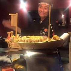 Chef serves up one of our sushi boats--yum!