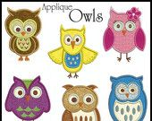 Set of 9 OWLS Machine Applique Embroidery - Instant Digital Download