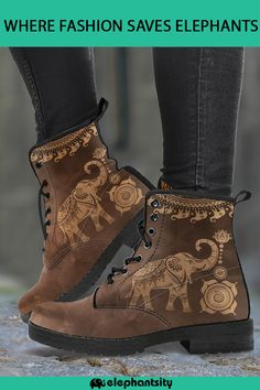 """""""Show your love for elephants with our new vegan-friendly boots! Cute Shoes, Me Too Shoes, Baskets, Shoe Boots, Shoe Bag, Elephant Love, Shoe Closet, Timberland Boots, Vegan Friendly"""