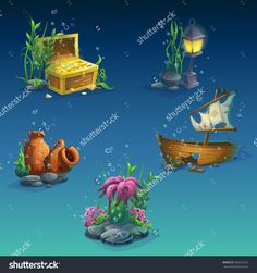 Find Set Underwater Objects Seaweeds Bubbles Chest stock images in HD and millions of other royalty-free stock photos, illustrations and vectors in the Shutterstock collection. Underwater Bubbles, Underwater Cartoon, Boat Illustration, Graphic Illustration, Level Design, 2d Game Art, Graphic Design Trends, Web Design, Cartoon Background