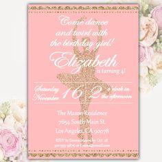 Little Girl Birthday Party Invitation Ballerina Party Invite Pink Peach Gold Glitter Ballet DIGITAL FILE by DamesAndDollies C1