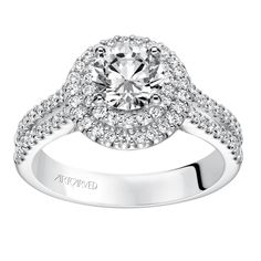 Double Halo with Split Shank Engagement Ring - Split Shank Engagement Rings, Halo Diamond Engagement Ring, Jewelry, Jewlery, Jewerly, Schmuck, Jewels, Jewelery, Fine Jewelry