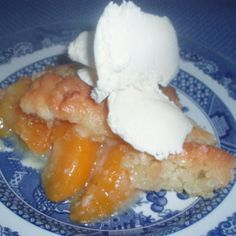 Every time I make this cobbler I get requests for the recipe. One of our friends said it was the best peach cobbler he had ever eaten.  I found this several years ago in a magazine. I have used frozen or fresh peaches in this recipe and that works well. Need enough peaches to completely cover the bottom of the pan.