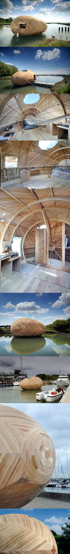 SPUD Group, PAD Studio and designer Stephen Turner have collaborated to create a space that can be tested out as a small shelter to stay in and use as a 'lab' for one year. The Exbury Egg, as they have titled it, was constructed with boat building techniques and houses only the essentials. A small stove, shower, desk and bed/hammock are there; while any means of electricity will all come from solar power.