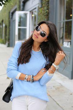 Blue Sweater + Black Sunglasses
