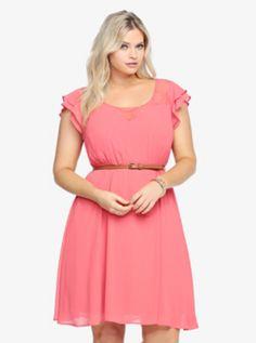 6d295f189e8 Ruffle Chiffon Dress. Plus Size ...