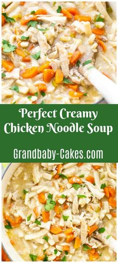 This easy Creamy Chicken Noodle Soup recipe is rich with velvety flavorful thick stock, tender chicken and egg noodles!  It will be your go-to winter soup! #soup #chickensoup #chickennoodlesoup #souprecipe #chicken