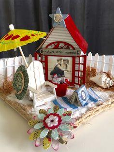 Miniature cabana vintage beach scene