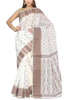 FloralWhite & Coffee Bengal Handloom Cotton Tant Saree