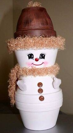 Snowman figure made with clay pots.