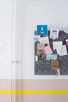 DIY inspiration only - no tutorial. Memo Boards, Diy Interior, Interior Design Tips, Yellow Dining Room, Small Toilet Room, Felt Diy, Kitchen Art, Interiores Design, My Room