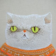 Embroidered shorthair by Cat-Rabbit, a Melbourne based textile artist.