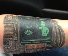 24 Badass Tattoos Inspired By The Legendary Fallout Series - Ftw Gallery for men on shoulder for men sleeve tattoos for men for men unique Gamer Tattoos, Key Tattoos, Pin Up Tattoos, Badass Tattoos, Unique Tattoos, Flower Tattoos, Sleeve Tattoos, Tattoos For Guys, Cool Tattoos