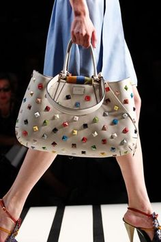 studs and safety pins — FENDI studded bag& Leather Handbags, Leather Bag, Sacs Design, Studded Bag, Mannequins, Beautiful Bags, Fashion Bags, Women's Accessories, Purses And Bags