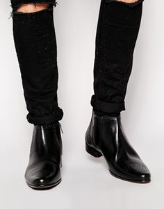 ASOS Zip Boots in Leather With Brogue Toe