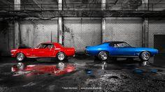 AmericanMuscle.de - Fotoshooting: 1965 Ford Mustang & 1968 Pontiac GTO