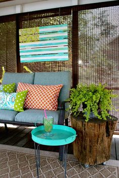 stump on casters Coastal Inspired Flag - Refresh Restyle Outdoor Sofa, Outdoor Spaces, Outdoor Living, Outdoor Decor, Coastal Living, Coastal Decor, Upcycled Furniture, Outdoor Furniture Sets, Outdoor Projects
