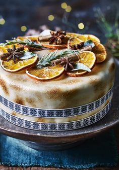 This #LastMinute #Christmas cake is flavoured with tropical fruits and rosewater and covered in toasted marzipan.
