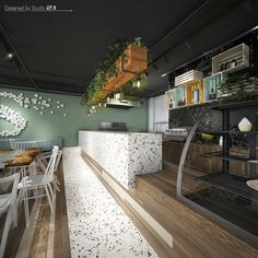 S Café – Bar design with green walls, curved wood, rough wood – Coffee shop design – Industrial Design Studio Rough Wood, Curved Wood, Coffee Shop Design, Green Walls, Cafe Bar, Industrial Design, Studio, Table, Furniture