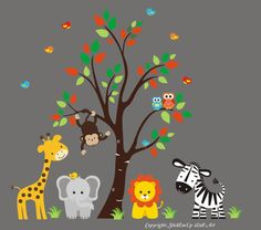 Baby Wall Decal with jungle animals Wall by StickEmUpWallArt, $169.95