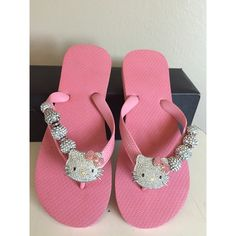 Hello Kitty flip flops w/crystal embellishments Brand new, super cute pink Hello Kitty flip flops with hand sewn crystal embellishments. They add just a bit of fun to any outfit❗️ Shoes Sandals